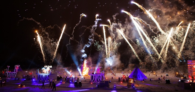 "The Umeå2014 opening ceremony ""Burning Snow""."