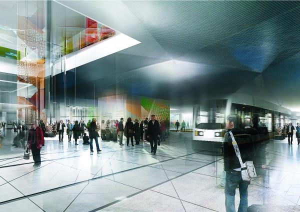 La biblioteca, con acceso directo al tranvía de Aarhus. Infografía: urbanmediaspace.dk
