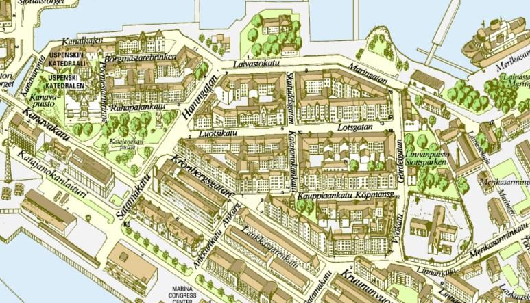 Detalle del mapa publicado por el ayuntamiento de Helsinki. Imagen: kartta.hel.fi
