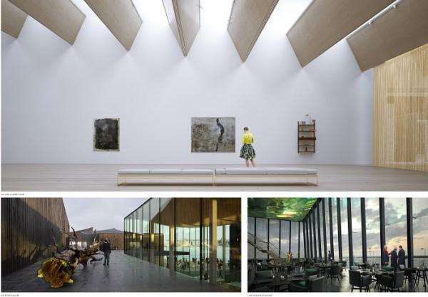 Recreación de diferentes espacios interiores del Museo. Imagen: Moreau Kusunoki