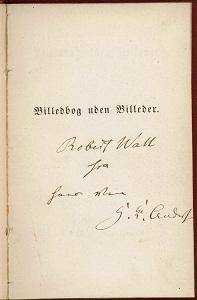 """Autógrafo de Andersen en el libro """"espacial"""". Foto: dr.dk"""