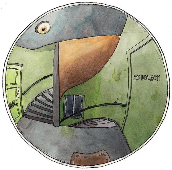 Esto es lo que se ve a través de la mirilla de la vivienda de Nina Johansson.