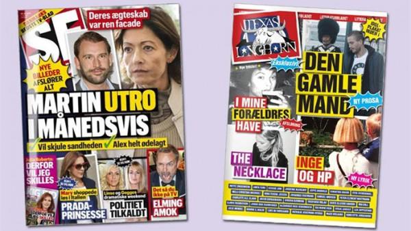 A la izquierda, la popular y sensacionalista 'Se og Hør'; a la derecha, portada de 'Texas Longhorn'. Foto: dr.dk
