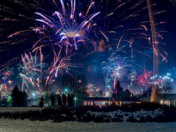 Los fuegos artificiales iluminan Reykjavík en Nochevieja. Foto: Ragnar Sigurdsson