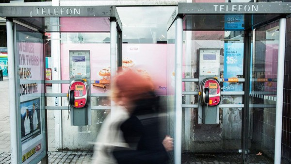 Cabinas teléfonicas en el centro de Estocolmo. Foto: TT